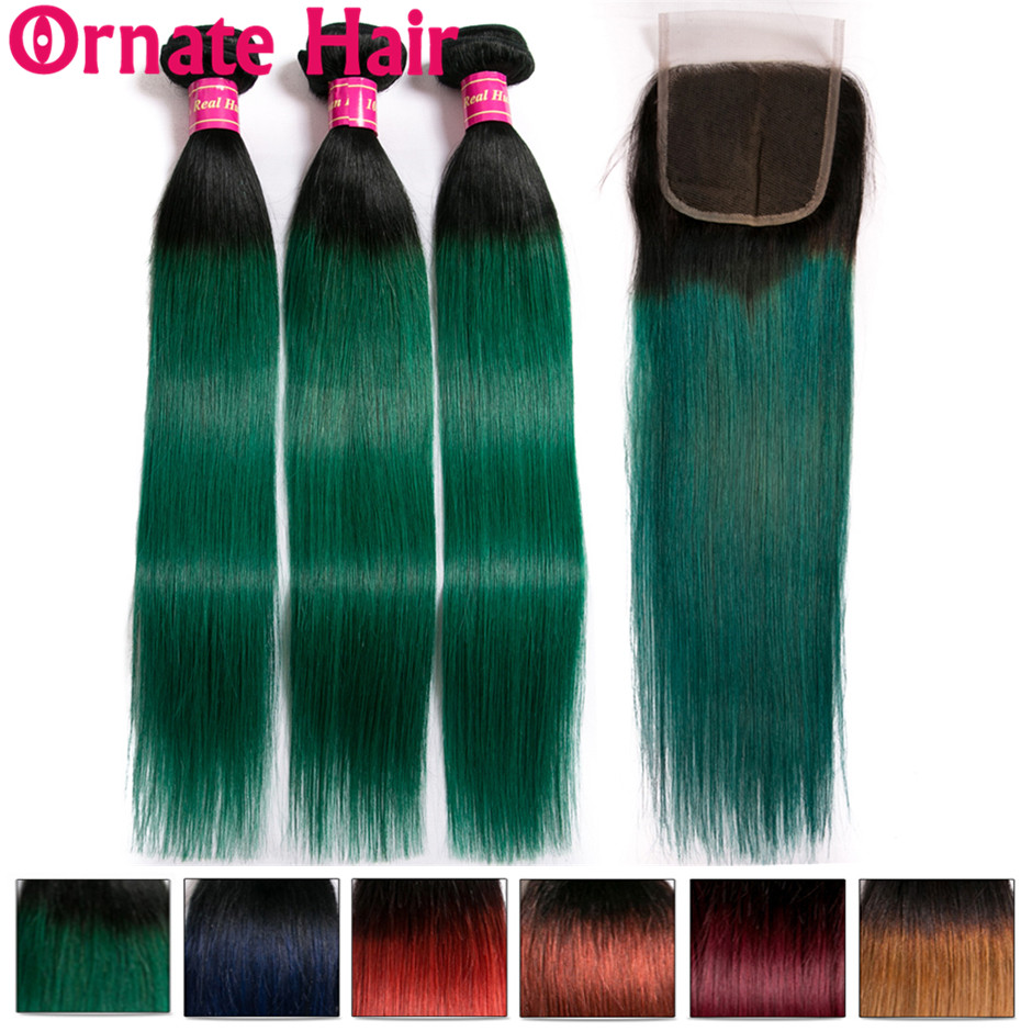 Ombre Colored Human Hair Bundles With Closure Brazilian Straight Hair Bundles With Closure Ornate Hair Non