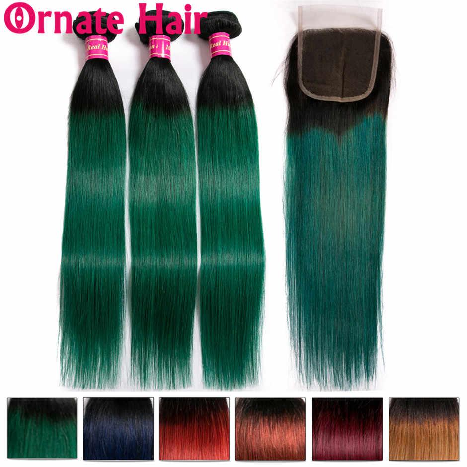 Покраска методом Омбре человеческие волосы пучки с закрытием бразильские прямые волосы пучки волос с закрытием богато волосы Remy T1b/зеленый/синий