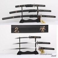 Bushido Musashi 3pcs Set Swords With Stand Carbon Steel Replica Movie The Last Samurai Sword Martial