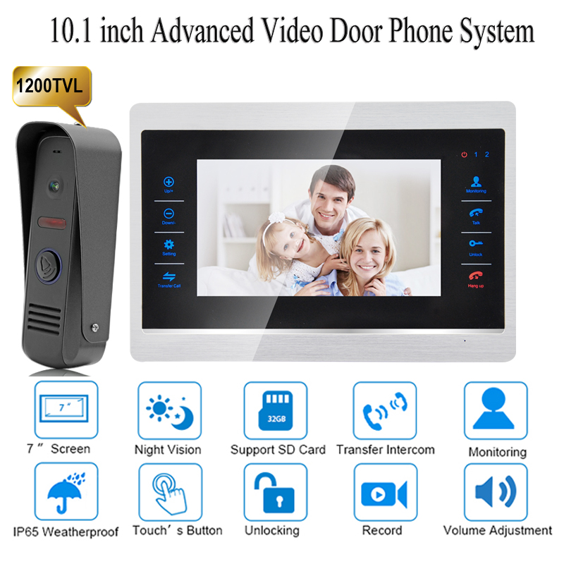 10 inch wired Door Phone home Intercom Video doorbell monitor Intercom With 1 Camera 1200TVL High Resolution door intercom video cam doorbell door bell with 4 inch tft color monitor 1200tvl camera
