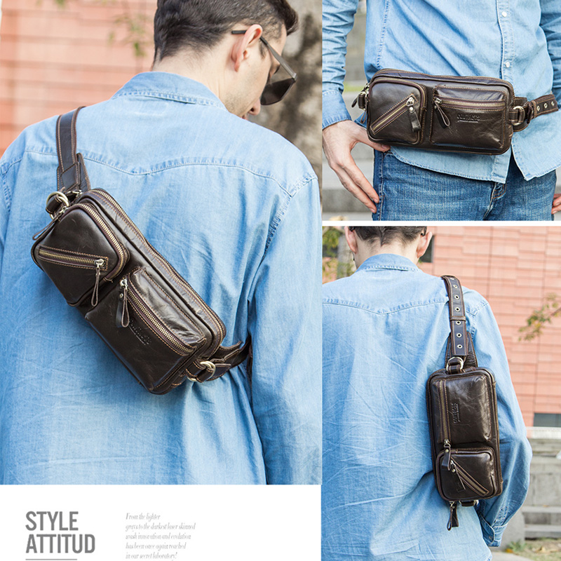 CONTACT'S genuine leather men's belt bag new small fanny pack top quality male waist bag for cell phone travel chest bags man 4