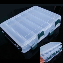 Double Side 12 Compartments Fishing Tackle Box High Strength Bait Lure Plastic Storage Case Clear with Drain Hole 20x17x4.7cm