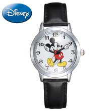 Original DISNEY children love Mickey mouse cartoon watch Preety boy girl fashion simple quartz round leather watches cutie 11027