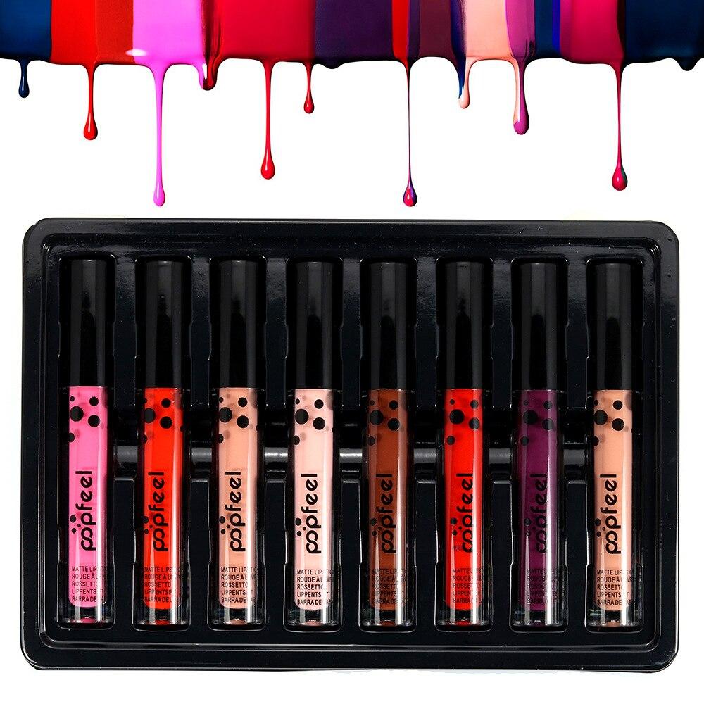 Popfeel 8 couleurs mat brillant à lèvres imperméable durable mode velours mat rouge à lèvres liquide lèvre de beauté maquillage kit