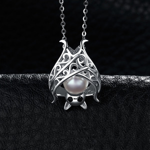 Image 2 - JPalace Bat Created Sapphire Pearl Pendant Necklace 925 Sterling Silver Gemstone Choker Statement Necklace Women No Chain