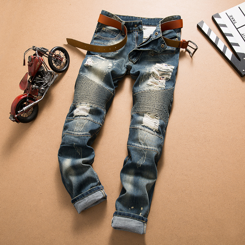 Men Jeans Homme Biker Male Jean Blue Calca Masculina Denim Distressed Fashion Slim Fit Pantalon Mezclilla Hombre Tuinbroek Man