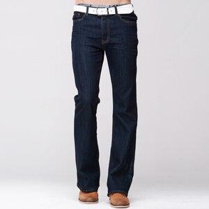 Image 2 - GRG Mens Slim Boot Cut Jeans Classic Stretch Denim Slightly Flare Dark Blue Pants Fashion Stretch Trousers