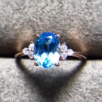 KJJEAXCMY fine jewelry The new 925 pure silver ring with natural topaz is highly recommended