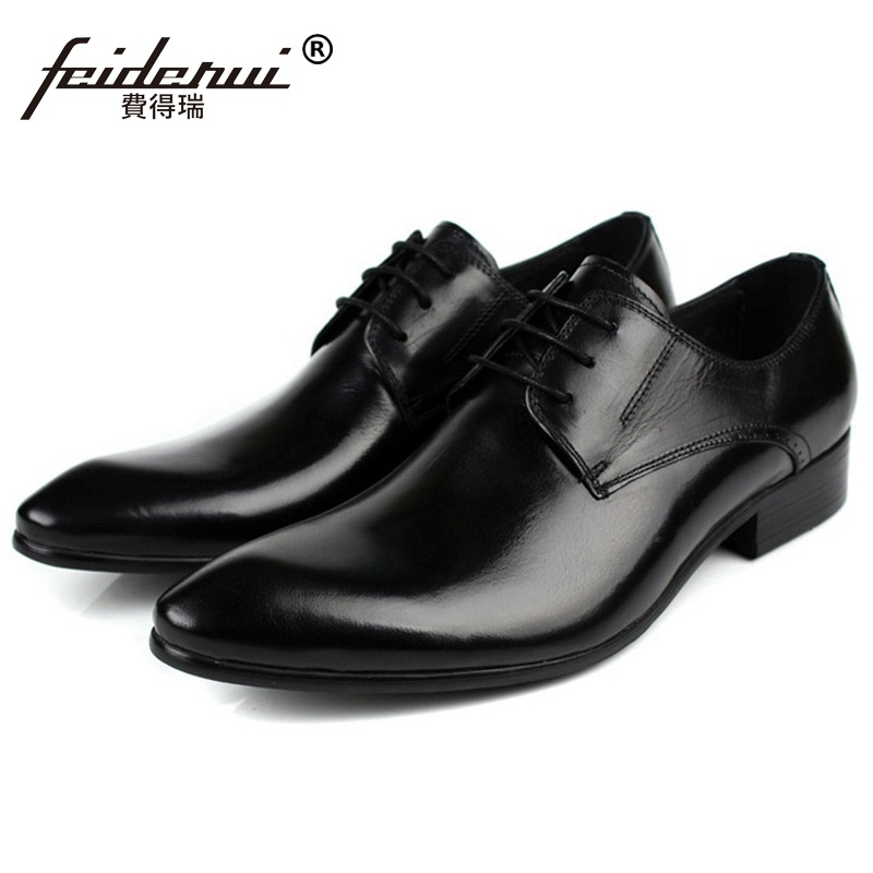 Hot Sale British Formal Man Derby Bridal Dress Shoes Genuine Leather Wedding Oxfords Luxury Brand Round Toe Men's Footwear PF91 mycolen mens shoes round toe dress glossy wedding shoes patent leather luxury brand oxfords shoes black business footwear