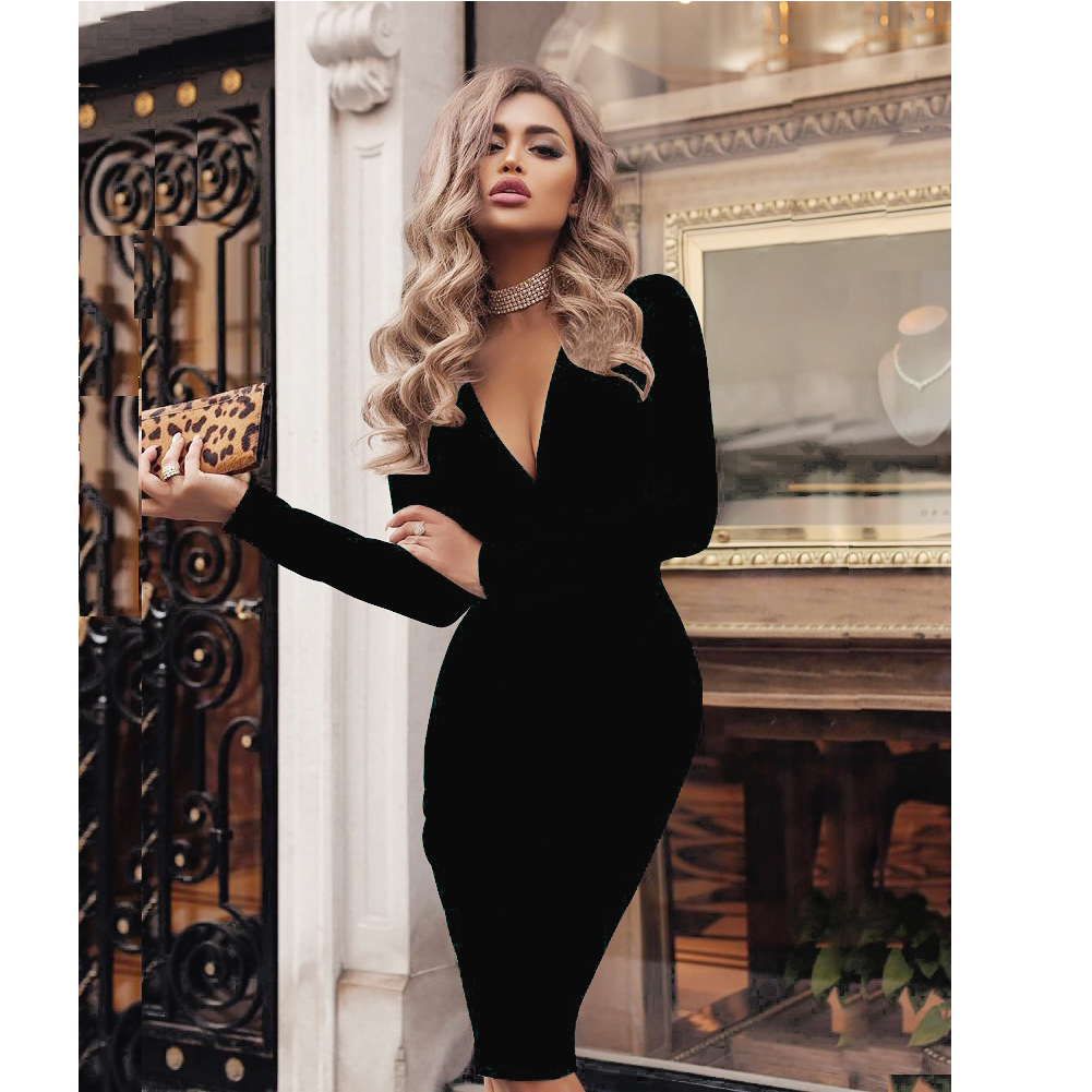 Autumn Summer Sexy Women Dresses Bodycon Solid Red Elegant Office Lady Vintage Long Sleeve Tops Long Tank  Party  Dress