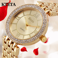 2017 Gold Watch Women Luxury Brand Kteta Ladies Quartz Watch Gifts For Girl Full Stainless Steel
