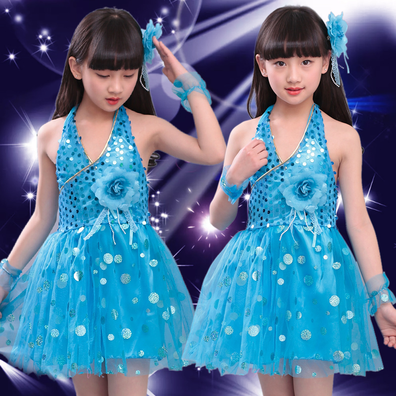 Блестящими Пайетками современный танец костюмы, сценическая одежда для детей, платье для сцены и танцев, Одежда для танцев для девочек - Цвет: Небесно-голубой