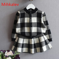 Mihkalev 2017 Autumn Girl Clothing Set 2PCS Sweaters Tops Skirts Kids Clothes Suits For 3years Plaid