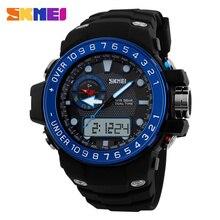 Skmei hombres deportes relojes moda Casual impermeable del cuarzo del reloj Digital y analógico militar de múltiples relojes deportivos para hombres