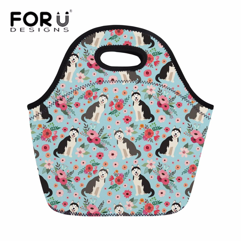 FORUDESIGNS Insulated Neoprene Lunch Bag Women Husky Printing Hand Tote Kids Girls Kawaii Lunch Box Food Bag for Park Picnic