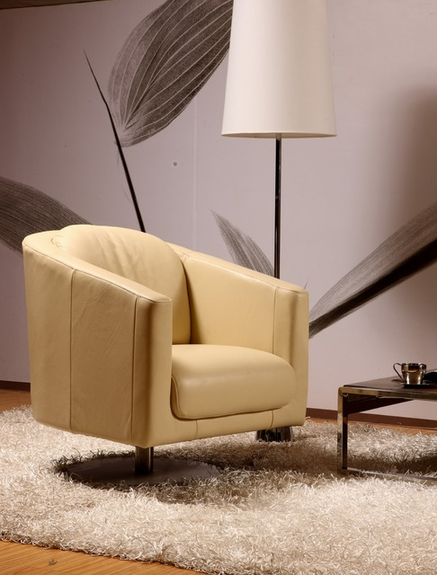 real leather Chair modern leisure chair with Top italian leather ...