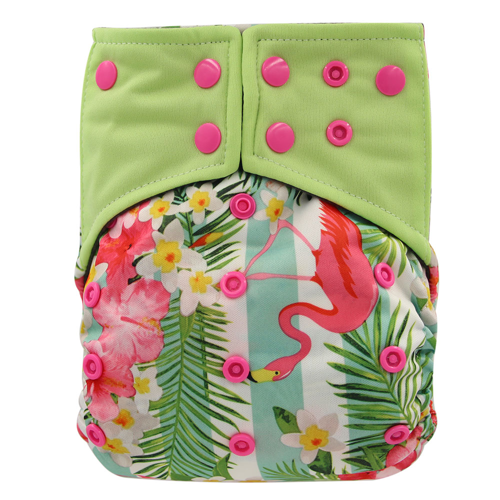 Ohbabyka Reusable Diapers Baby Nappies Cover Flamingo Print AI2 Pocket Diaper Washable Bamboo Charcoal Insert Baby Cloth Diaper