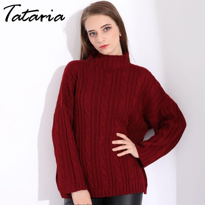 Tataria Red Women Oversized Turtleneck Sweater For Women Loose Women's  Sweaters Pullovers Winter Woman Sweater Knitting Pullover|Pullovers| -  AliExpress