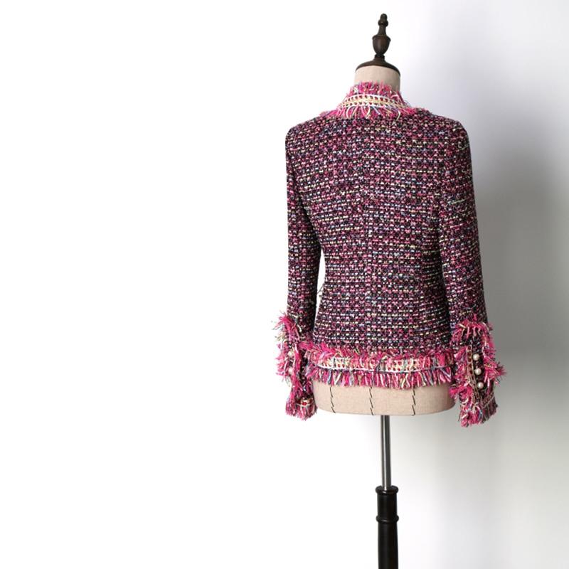 cou Hiver Femmes Gland De Vestes Survêtement Élégant Tissage Style Chic V Angleterre Mince D'hiver Manteaux Haute Qualité xR77InqwvU