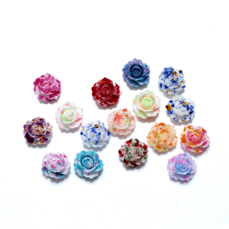 100/Pcs Mixed Resin Cabochon Rose Flower Crafts Flatback Beads Kawaii Embellishments For Scrapbooking DIY Accessories