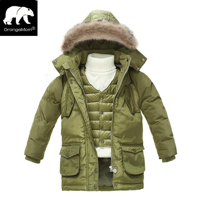 New 2018 winter down parka jackets for boys coat + vest 2pcs thicken children's coats kids clothing boy windbreaker snowsuits