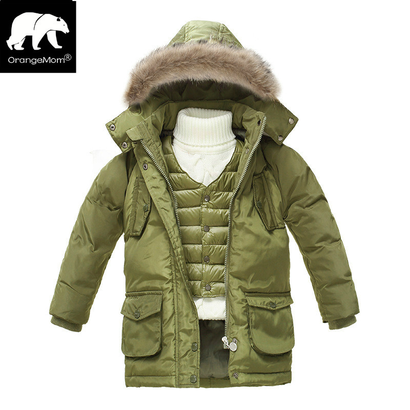 New 2018 winter down parka jackets for boys coat + vest  2pcs thicken children's coats kids clothing boy windbreaker snowsuits 2017 winter down jackets for boys