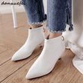 32947219159 - Botines blancos con tacón de gatito para mujer, botines bajos de piel auténtica de tacón bajo, botas puntiagudas para otoño, zapatos cómodos para mujer