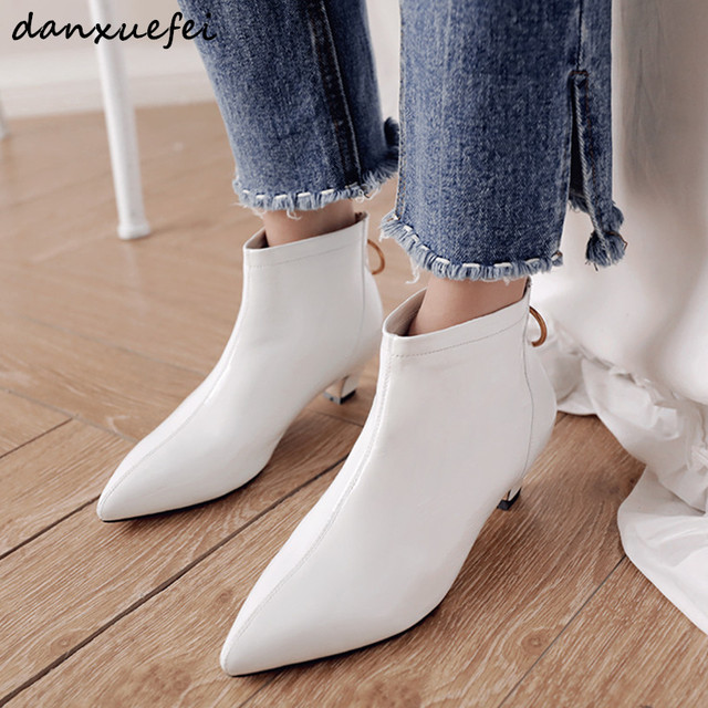 $ US $46.92 Women's kitten heel white ankle boots genuine leather low heel short booties pointed toe autumn boots ladies comfortable shoes