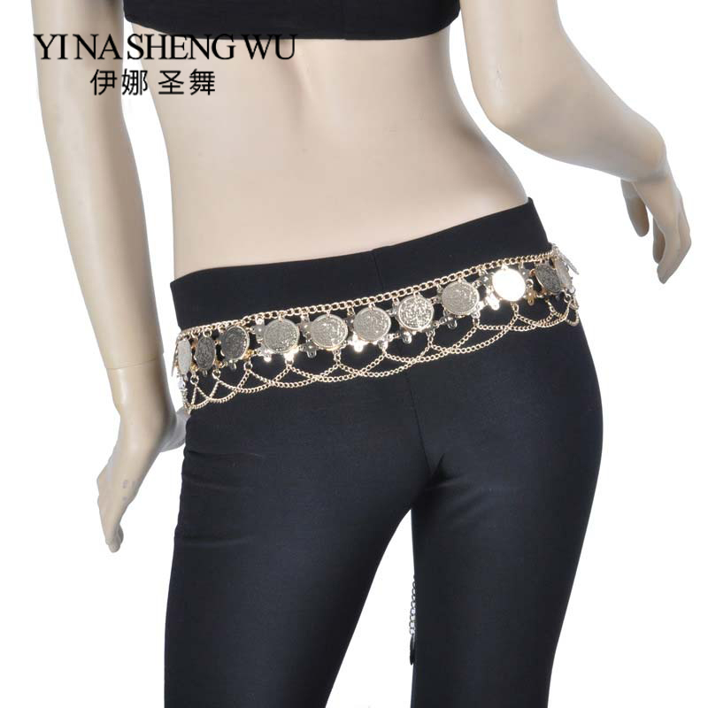 Newest Belly Dance Costumes Accessories Big Coins Tribal Waist Belt Belly Dance Waist Chain Big Coins Belt Gold/silver 2 Colors