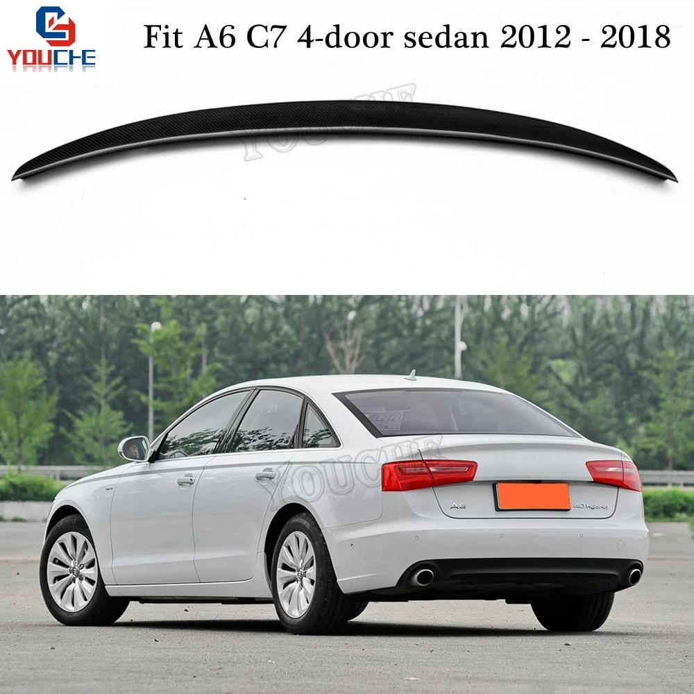 S6 Style fibre de carbone aileron arrière aile de coffre pour Audi A6 C7 4 portes berline 2012-2018 coffre coffre couvercle de coffre aileron lèvre