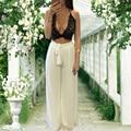Сексуальная Европейский и Американский стиль летние женщины 2 шт. набор черный кружева растениеводство топы бюстье бюстгальтер + полная длина Шифон широкие брюки ноги