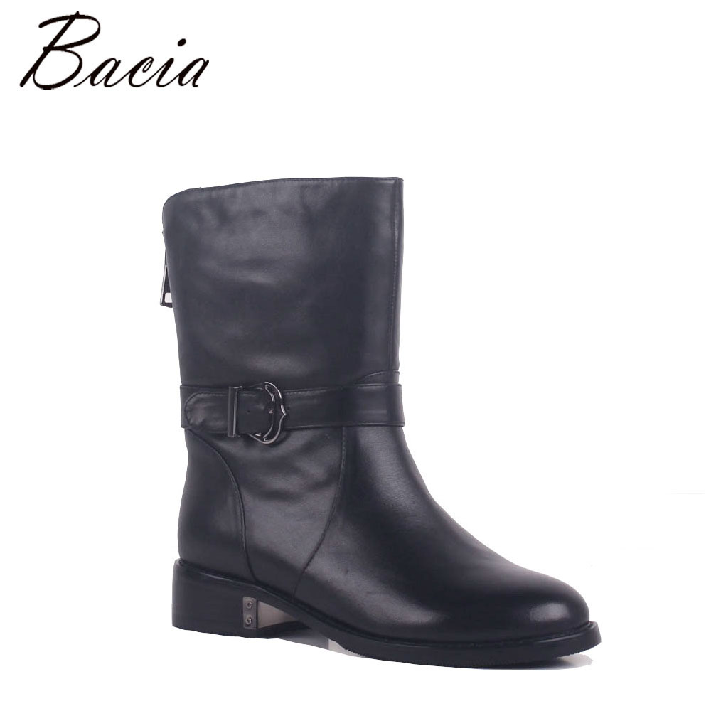Bacia Shoes Martin Mid-Calf Boots Genuine Leather Shoes Vintage Casual Shoes Brand Design Retro Handmade Women Wool Boots MB029