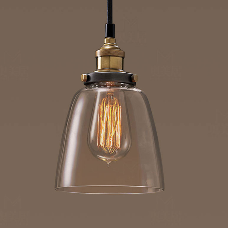 cheapest Vintage Pendant Lights Dining Glass Hanging lamp Russia Loft Luminaire Modern Bedroom Pendant Lamp with Clear Gray Amber Colour