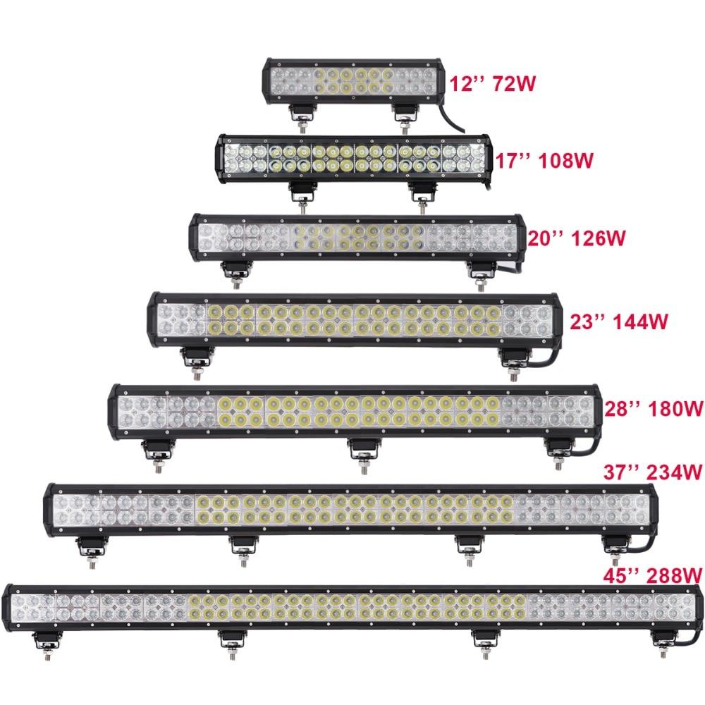 OFFROAD LED LIGHT BAR 12V 24V 12 17 20 23 28 37 45 INCH CAR SUV TRUCK TRAILER PICKUP 4WD ATV UTE 4X4 BOAT COMBO DRIVING LAMP цена