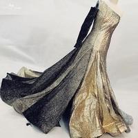 RSE863 One Off Shoulder Long SLeeve Evening Gown Gold & Black & Silver Glitters Shine Bling Bling Vestido De Festa Longo De Luxo