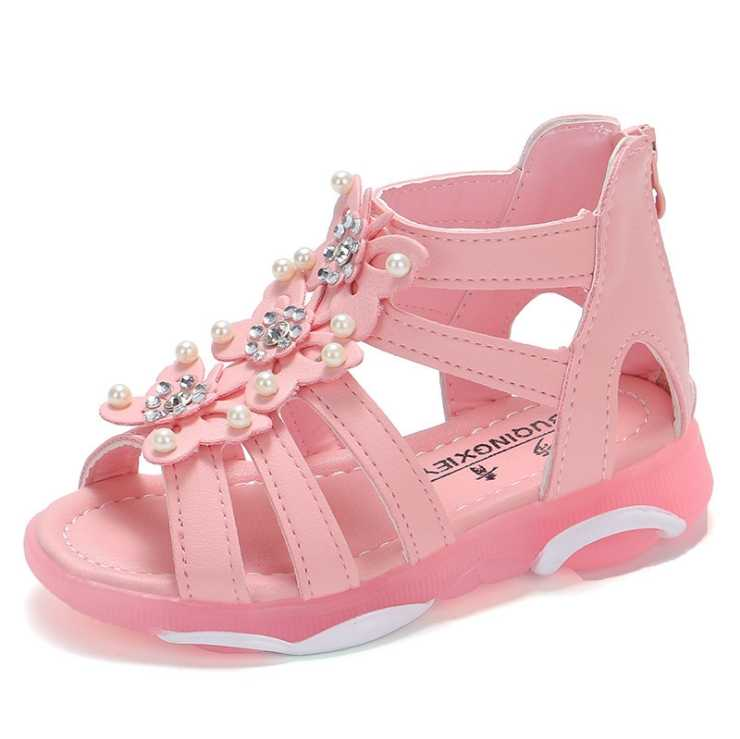 2019Fashion children's sandals bare bottom girls shoes primary school princess shoes Roman wind sandals size21--36