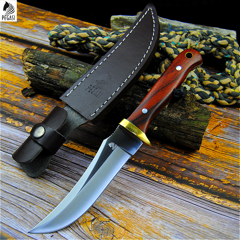 PEGASI 7HR15MOV Tactical Straight Knife North American Sharp Hunting Knife Outdoor Self-defense Knife Home Slice Knife + Holster