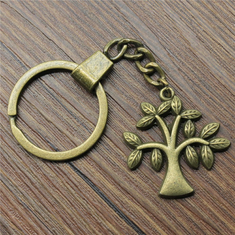 New Vintage Men Jewelry Keychain Diy Metal Holder Chain Tree 33x30mm Antique Bronze Pendant Gift in Key Chains from Jewelry Accessories