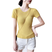 Women's Summer Knitted Ball Sweater Solid Color Cotton Round Neck Short Sleeve Fashion Elastic Striped Girl Sweet Slim T-Shirt stylish long sleeve round neck color block striped patterned girl s sweater