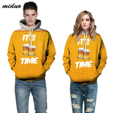 2019 Explosive beer digital printing couple hooded  mens new factory direct ship
