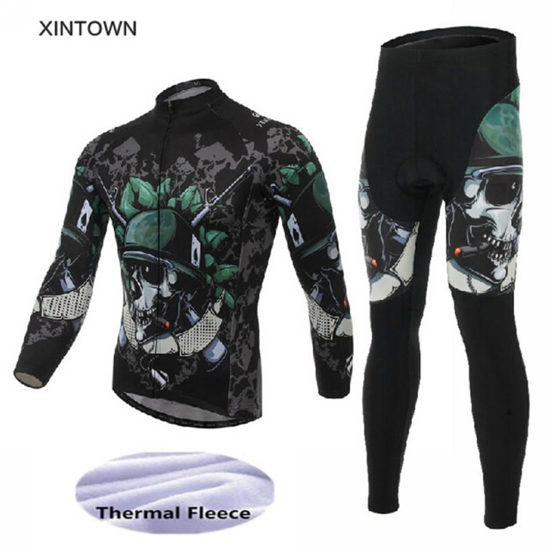 Men's Winter Cycling Set Long Sleeve Thermal Fleece Cycling Jersey MTB Cycle Clothing Bike Clothes Bicycle Cycling Kit Skull women s long cycling clothing mountain bike kit reflective cycle jersey