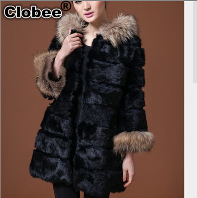 Outwear 2017 Women Winter Elegant Casual Gorgeous Long Female Black Faux Fur Coat Casaco Feminino Hooded Fox Fur Coat V564