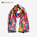 Pure Silk Scarves Female Animal Painting Neckerchief Women Satin Bandana Neck Warmer Scarf Colorful Cats