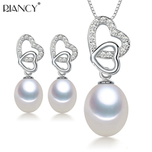Fashion freshwater pearl jewelry sets women 925 silver,real natural pearl jewelry sets trendy pendant earring,best gift white double r new design real fashion style natural freshwater pearl pendant for women high quality fine jewelry girl best gift