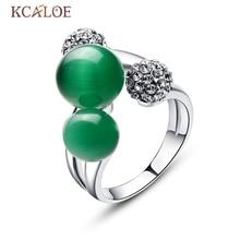 Piedra de Ópalo verde de Bolas de Doble Anillo de Mujer de Tamaño Variable Anillo de Joyería de La Boda de Plata del Cristal Plateado del Rhinestone de la Bola de Jade Natural