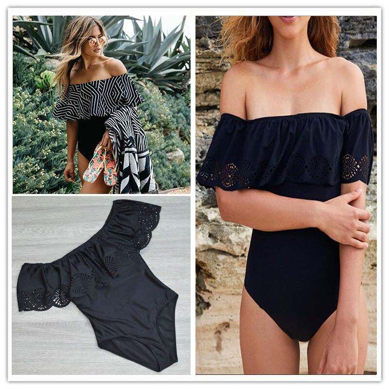 2017 Black Lace Flounce Off Shoulder Swimsuit Women Sexy Bodysuit Monokini Swimwear Ruffle One Piece Swimsuit Bathing Suit XL