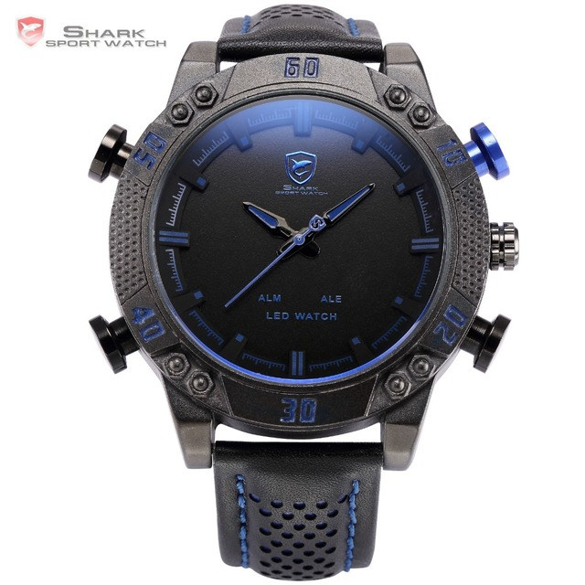 991345abaaf Shark Sport Watch LED Brand Auto Date Alarm Black Blue Dual Time Leather  Band Military Quartz