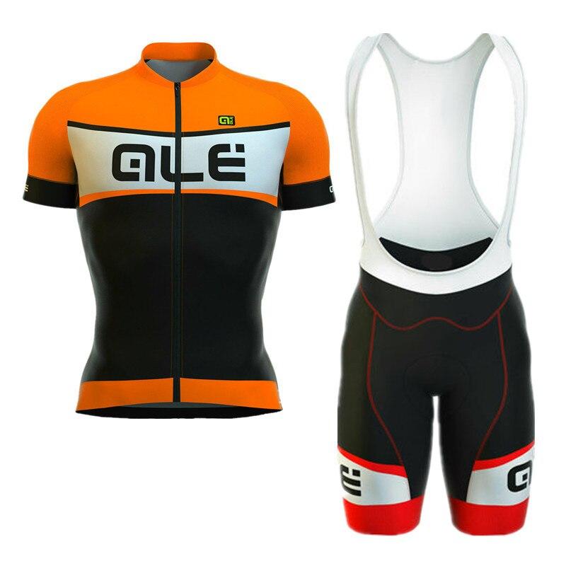2018 Pro Team ALE Fluor Wielertrui korte mouw shirts bib Shorts 9D GEL PAD set Ropa Ciclismo Fiets Kleding