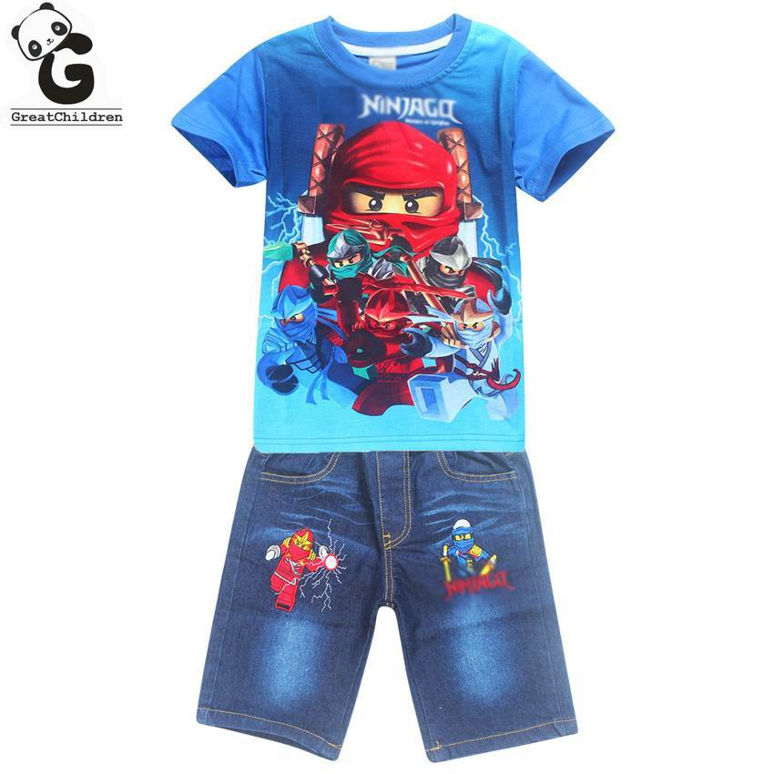 Boys Clothing Sets Children Clothing Set Batman Boy T-shirts+Ninjago Shorts 2Pcs Kids Sport Suits For Boys Set Summer Beachwear