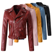 2017  women wine red faux leather jackets lady bomber motorcycle cool  coat with belt hot sale